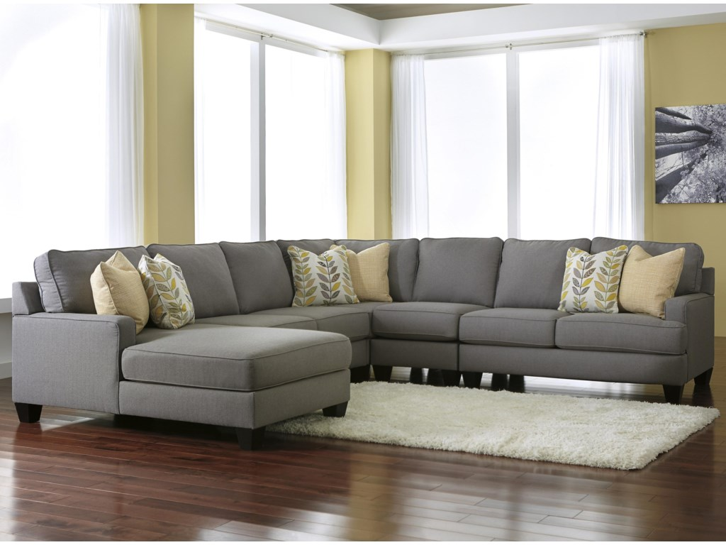 Signature Chamberly - Alloy5-Piece Sectional Sofa with Left Chaise