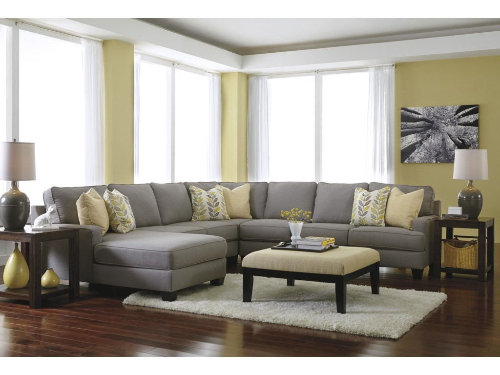 Signature Design by Ashley Chamberly - Alloy5-Piece Sectional Sofa with Left Chaise