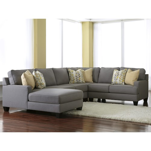 Signature design by ashley chamberly alloy modern 4 for 4 piece sectional with chaise