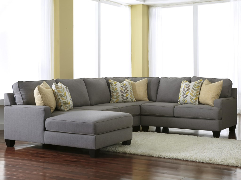 Signature design by ashley chamberly alloy4 piece sectional sofa with left chaise