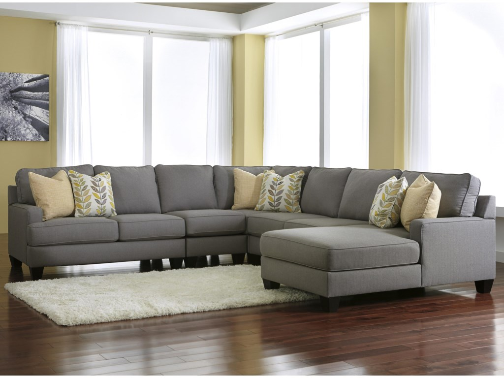 Signature Chamberly - Alloy5-Piece Sectional Sofa with Right Chaise