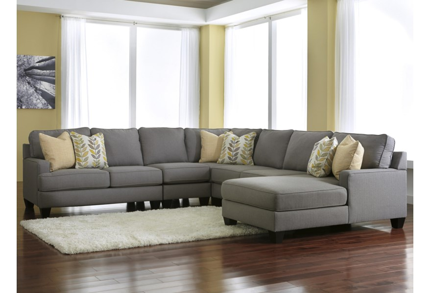 Chamberly - Alloy Modern 5-Piece Sectional Sofa with Right Chaise &  Reversible Seat Cushions by Signature Design by Ashley at Furniture and ...