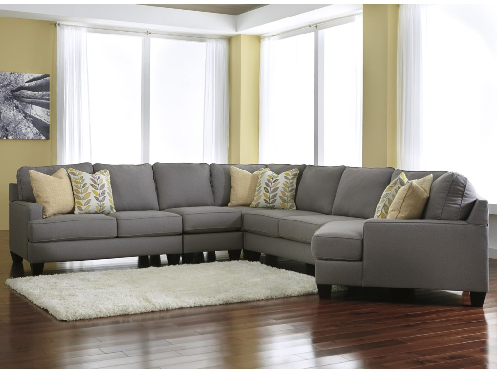 Signature design by ashley chamberly alloy5 piece sectional sofa with right cuddler