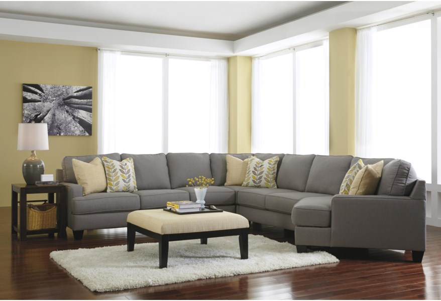 Chamberly - Alloy 5-Piece Sectional Sofa with Right Cuddler