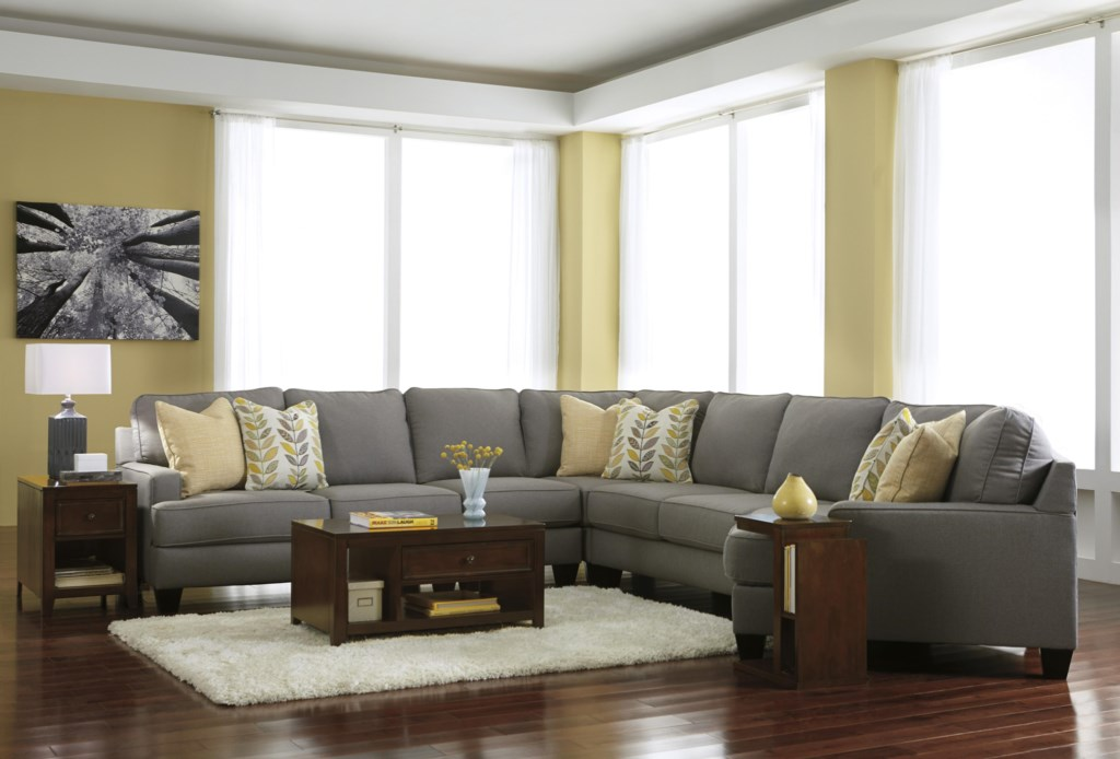 Signature Design By Ashley Chamberly Alloy Modern 5 Piece  ~ Sectional Sofa With Cuddler