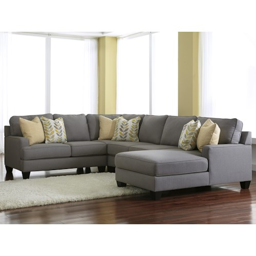 Signature Design by Ashley Chamberly - Alloy Modern 4-Piece Sectional Sofa with Right Chaise & Reversible Seat Cushions