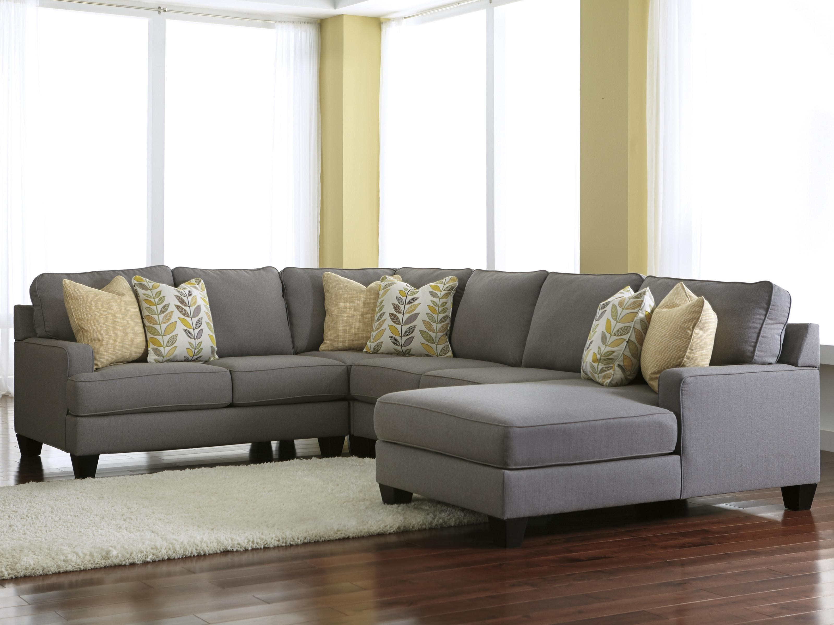 Chamberly   Alloy Modern 4 Piece Sectional Sofa With Right Chaise U0026  Reversible Seat Cushions By Signature Design By Ashley