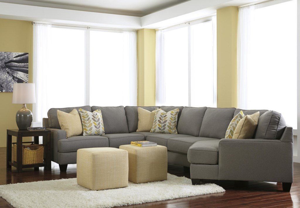 Signature Design By Ashley Chamberly Alloy Modern 4 Piece  ~ Sectional Sofa With Cuddler
