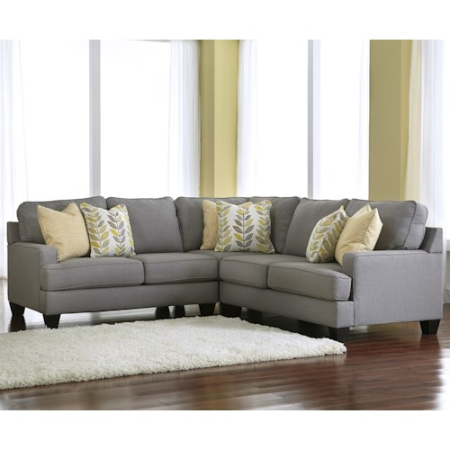 Signature Design by Ashley Chamberly - Alloy Modern 3-Piece Corner Sectional Sofa with Reversible Seat Cushions