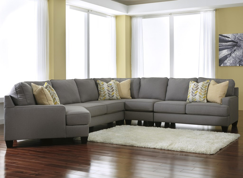 Signature design by ashley chamberly alloy5 piece sectional sofa with left cuddler