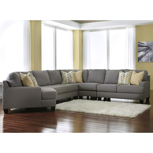Signature Design by Ashley Chamberly - Alloy Modern 5-Piece Sectional Sofa with Left Cuddler & Reversible Seat Cushions