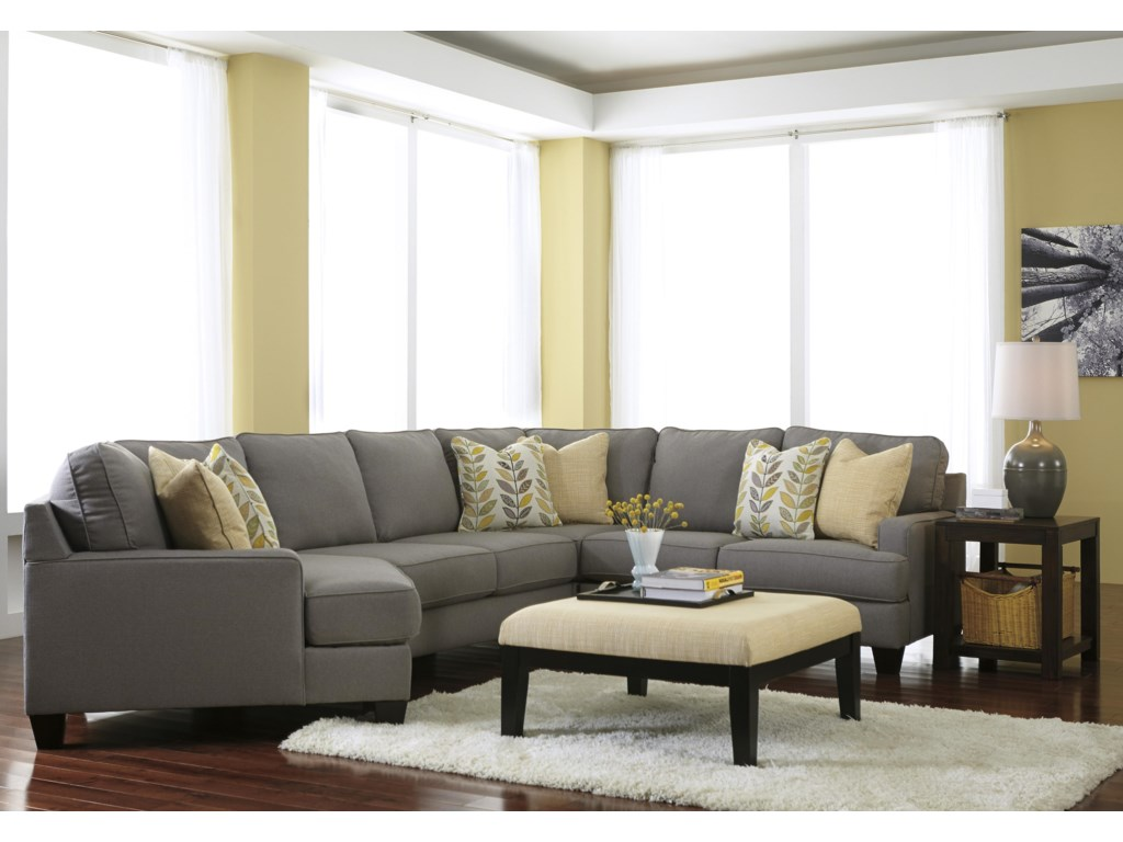 Signature Design by Ashley Chamberly - Alloy5-Piece Sectional Sofa with Left Cuddler
