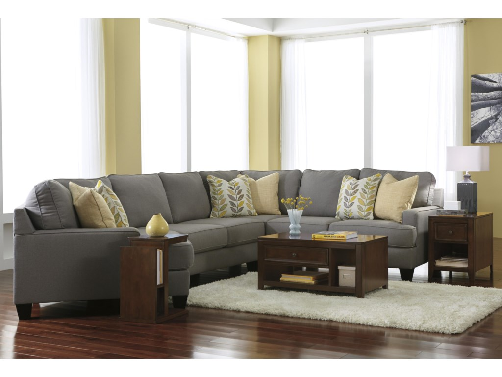 Signature Chamberly - Alloy5-Piece Sectional Sofa with Left Cuddler