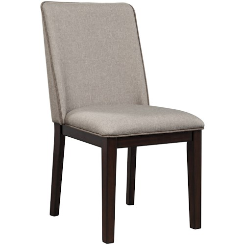 Signature Design by Ashley Chanceen Contemporary Dining Upholstered Side Chair in Light Gray Fabric