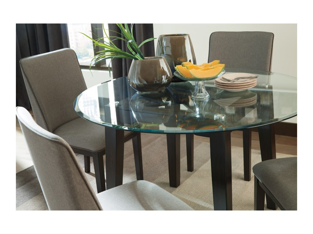 Signature Design by Ashley Chanceen5-Piece Round Glass Top Table Set
