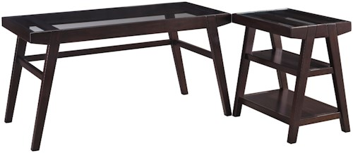 Signature Design by Ashley Chanceen 2-Piece Desk Set with Solid Wood Frame & Clear Tempered Glass Tops