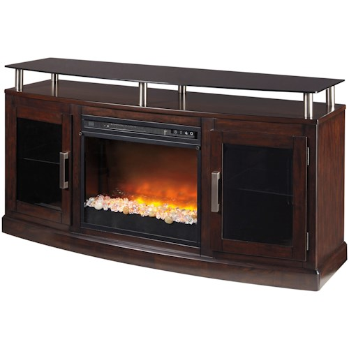 Signature Design by Ashley Chanceen TV Stand with Fireplace Insert & Floating Black Tempered Glass Top