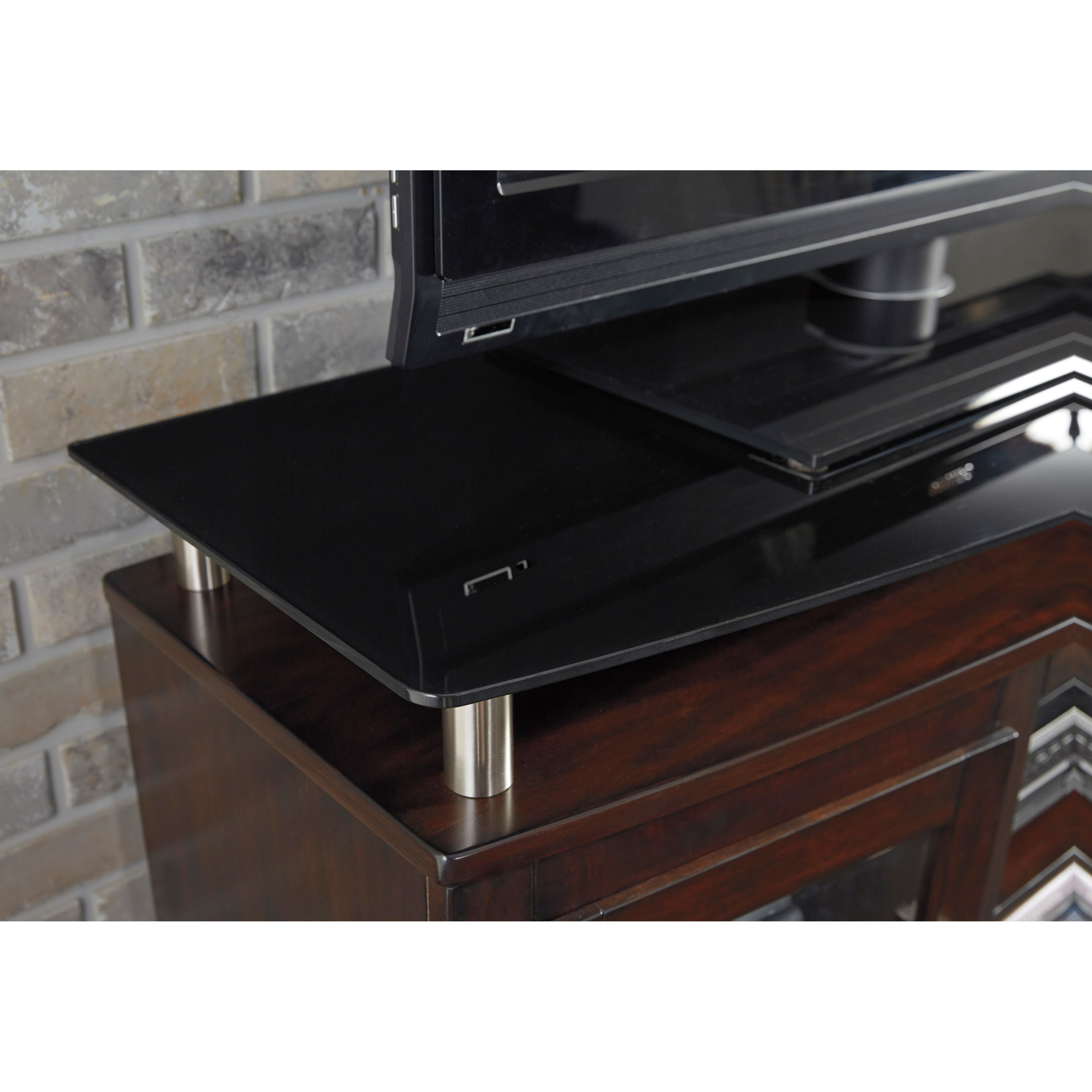 Signature Design By Ashley Chanceen Tv Stand With Fireplace Insert Floating Black Tempered Glass Top Sam Levitz Furniture Tv Stands