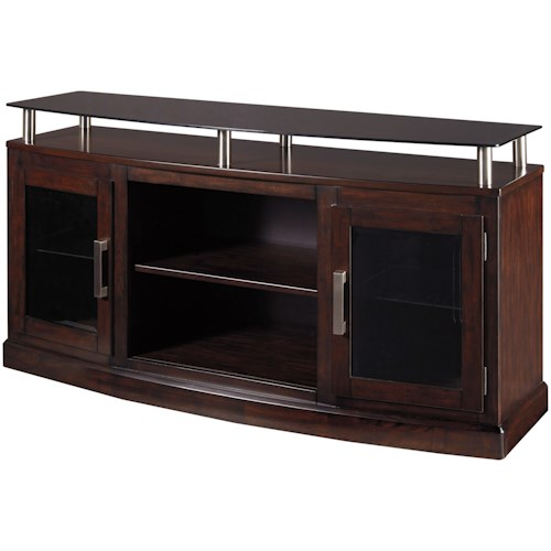 Signature Design by Ashley Chanceen Medium TV Stand with Floating Black Tempered Glass Top