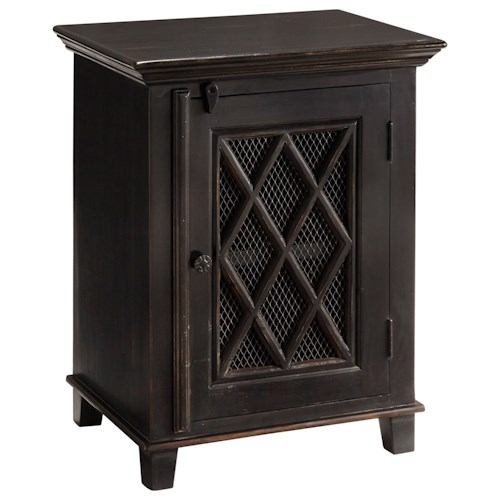 Signature Design by Ashley Charlowe Distressed Black Finish Night Stand with Wire Mesh Door