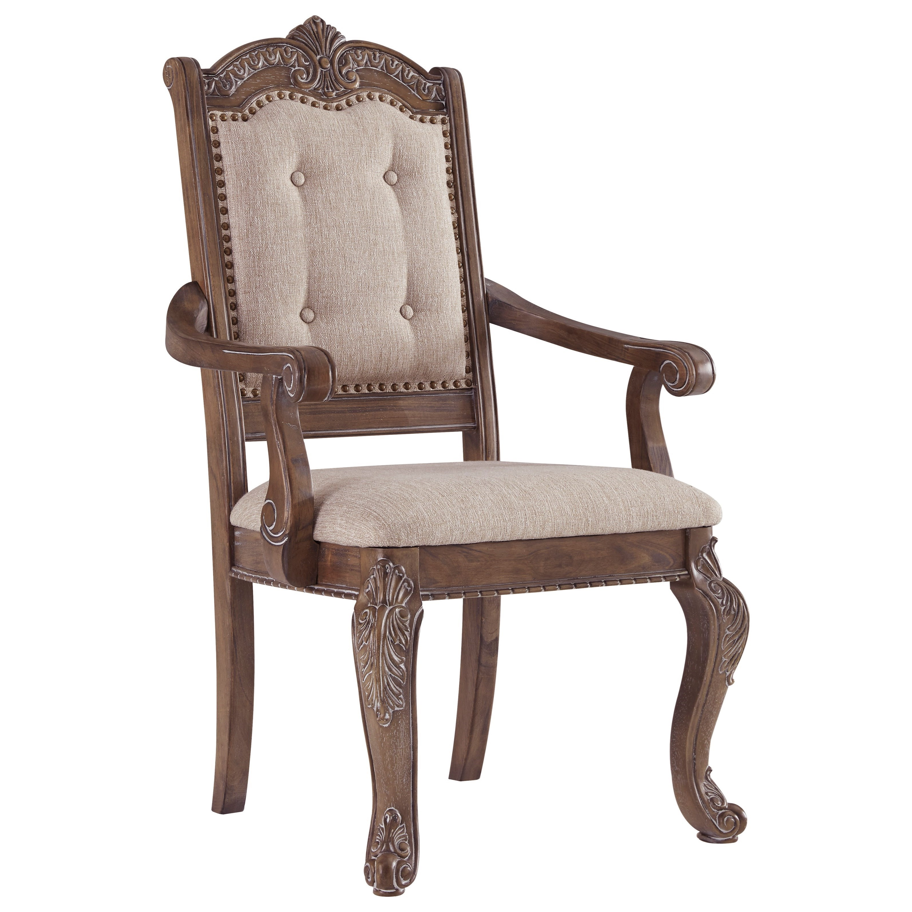 Charmond Traditional Dining Upholstered Arm Chair With Ornate Details By  Signature Design By Ashley At Rotmans