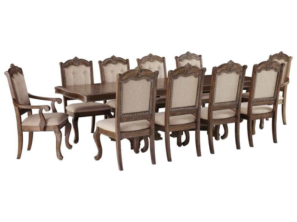 Signature Design by Ashley Charmond11-Piece Rectangular Extension Table Set