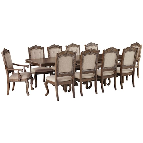 Signature Design by Ashley Charmond Traditional 11-Piece Rectangular Extension Table Set with Arm Chairs