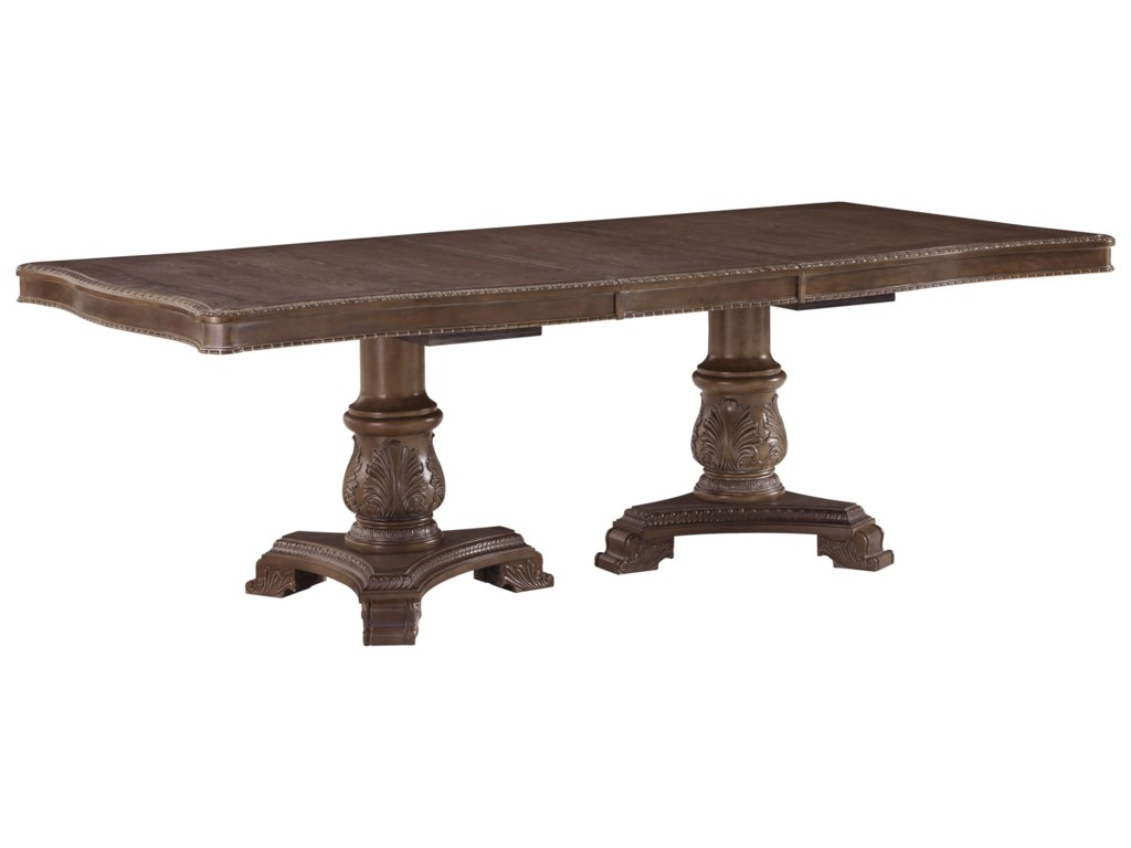 Charmond Traditional Double Pedestal Rectangular Dining Room Extension  Table by Signature Design by Ashley at Household Furniture