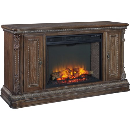 """62"""" TV Stand with Fireplace Insert"""
