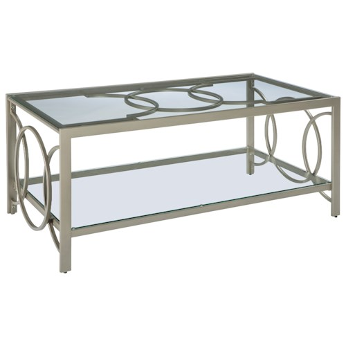 Signature Design by Ashley Charmoni Champagne Finish Metal Rectangular Cocktail Table with Glass Top