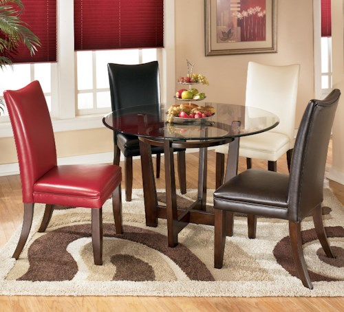 Signature Design by Ashley Charrell 5 Piece Round Dining Table Set with 4 Different Color Upholstered Side Chairs