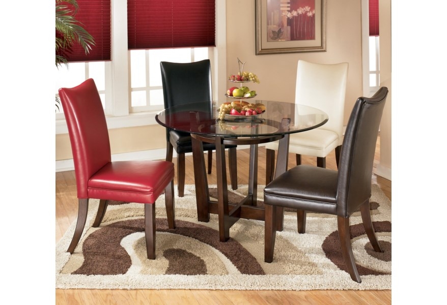 Charrell 5 Piece Round Dining Table Set with 4 Different Color Upholstered  Side Chairs by Benchcraft at Virginia Furniture Market