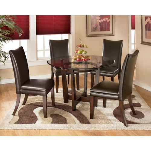 Signature Design by Ashley Charrell 5 Piece Round Dining Table Set with Brown Chairs