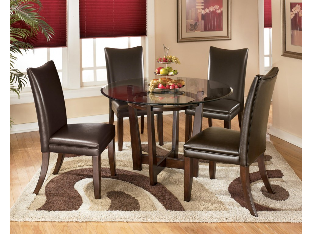 online store 906f7 26a01 Charrell 5 Piece Round Dining Table Set with Brown Chairs by Signature  Design by Ashley at Sam Levitz Furniture