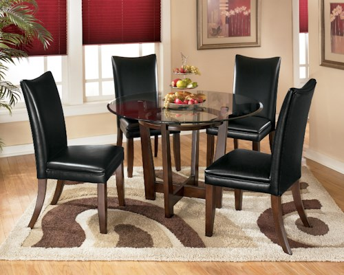 Signature Design by Ashley Charrell 5 Piece Round Dining Table Set with Black Chairs