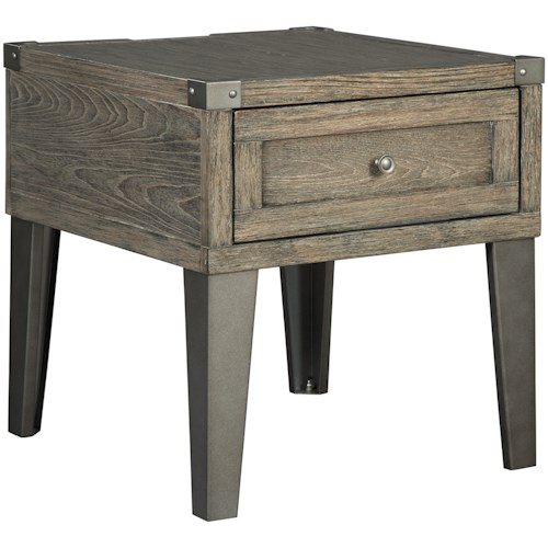 Signature Design by Ashley Chazney Industrial End Table with 1 Drawer and Metal Legs