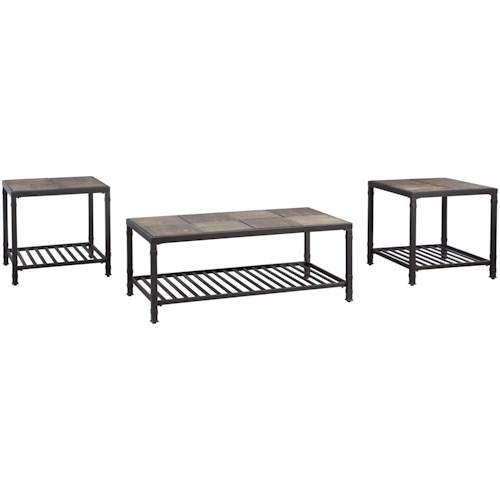 Signature Design by Ashley Chelner Metal/Solid Pine Wood Occasional Table Set