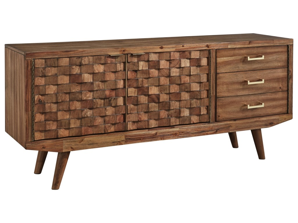 Chiladda Mid Century Modern Extra Large 72 Tv Stand With Basket Weave Door Fronts By Signature Design Ashley