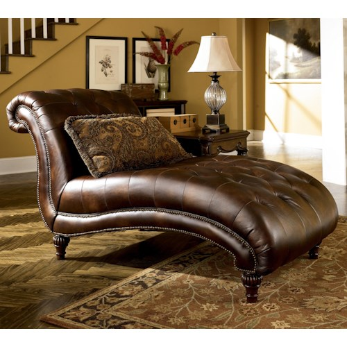 Signature Design by Ashley Claremore - Antique Traditional Chaise with Nailhead Trim