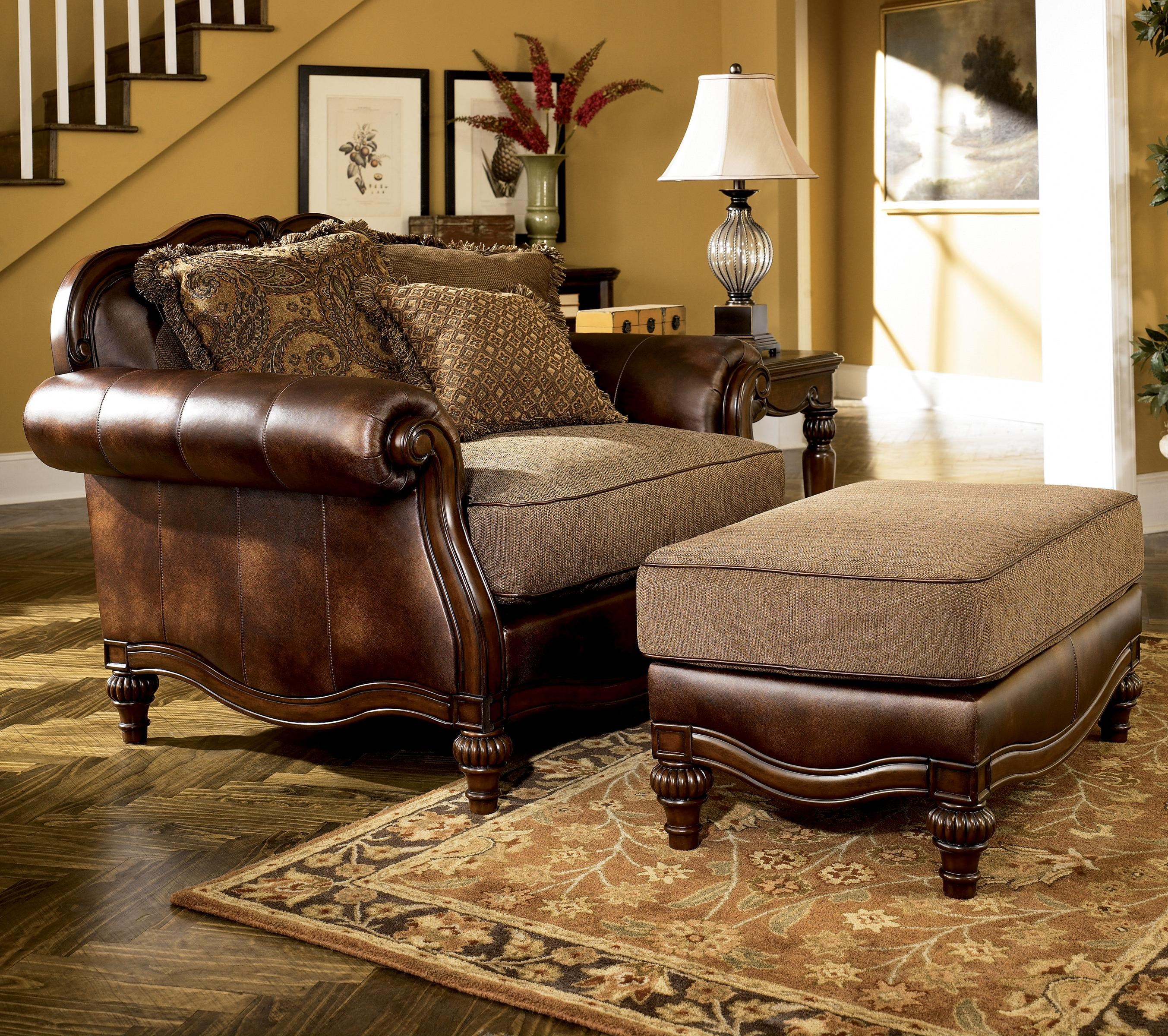 Exceptionnel Signature Design By Ashley Claremore   AntiqueChair And 1/2 And Ottoman ...