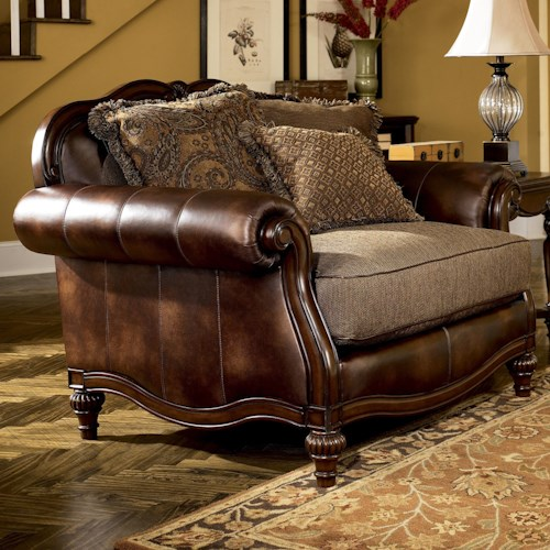 Signature Design by Ashley Claremore - Antique Traditional Two-Toned Chair and 1/2 with Loose Back Pillows