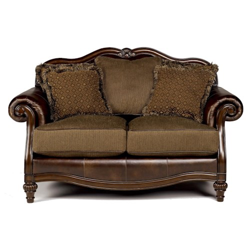 Signature Design by Ashley Claremore - Antique Traditional Two-Toned Loveseat with Loose Back Pillows
