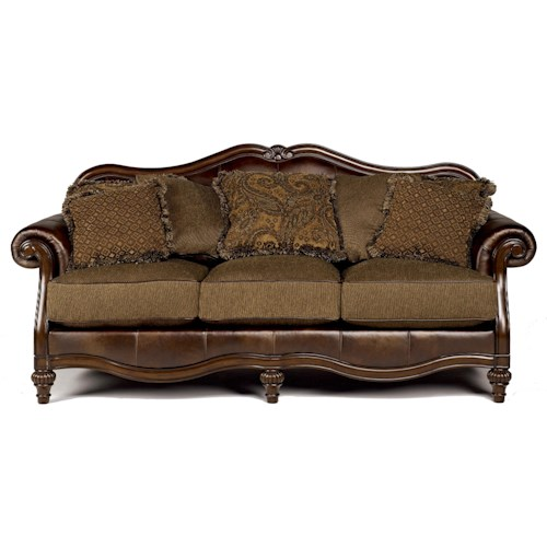 Signature Design by Ashley Claremore - Antique Traditional Two-Toned Sofa with Loose Pillow Back
