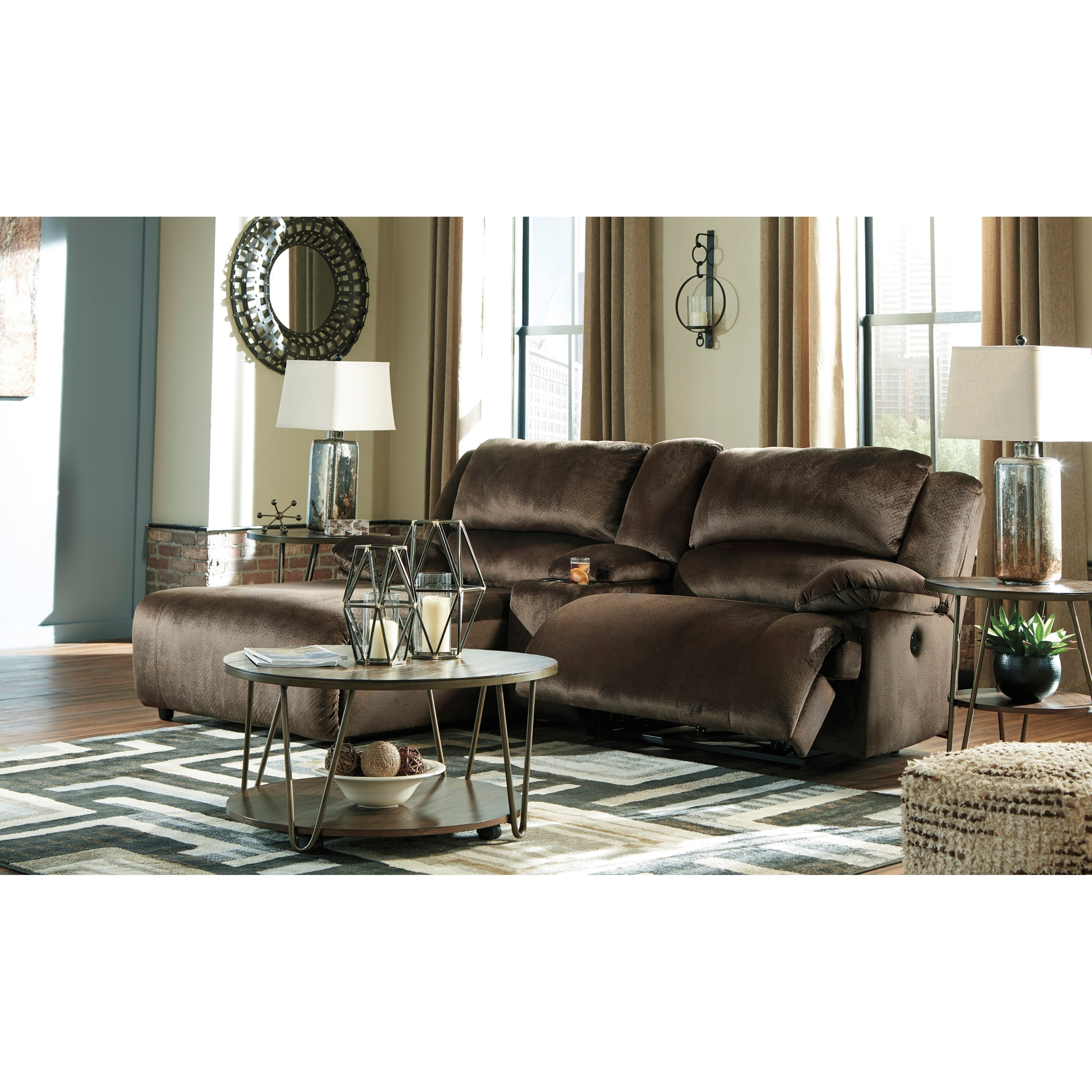 Picture of: Signature Design By Ashley Clonmel Reclining Sectional W Chaise Console Conlin S Furniture Reclining Sectional Sofas