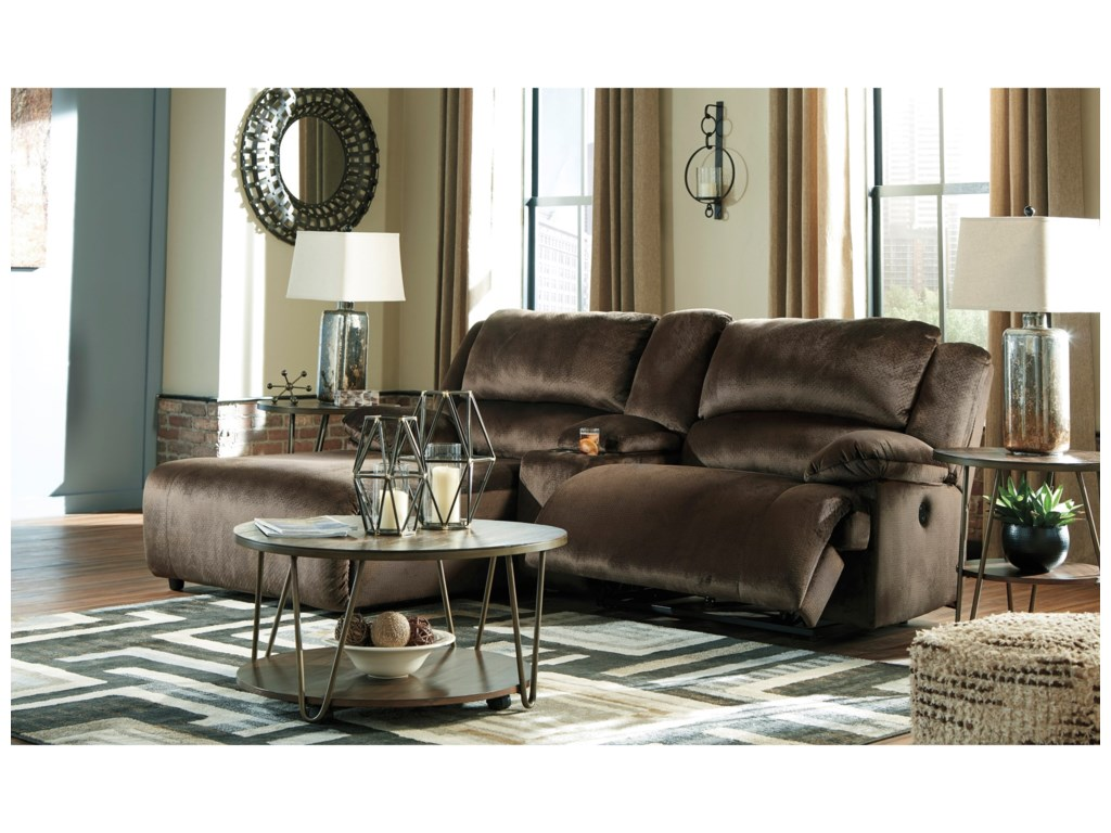 Signature Design by Ashley ClonmelReclining Sectional w/ Chaise & Console