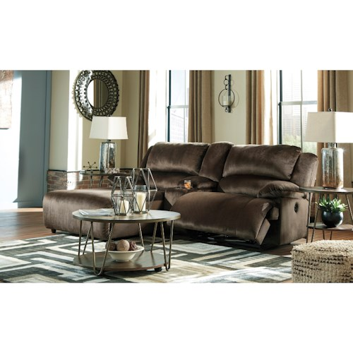 Signature Design by Ashley Clonmel Reclining Sectional w/ Chaise & Console