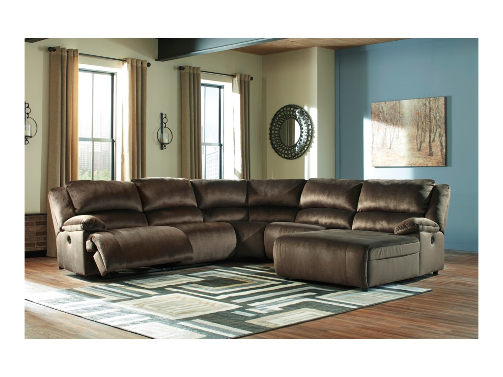 Signature Design by Ashley ClonmelReclining Sectional with Pressback Chaise