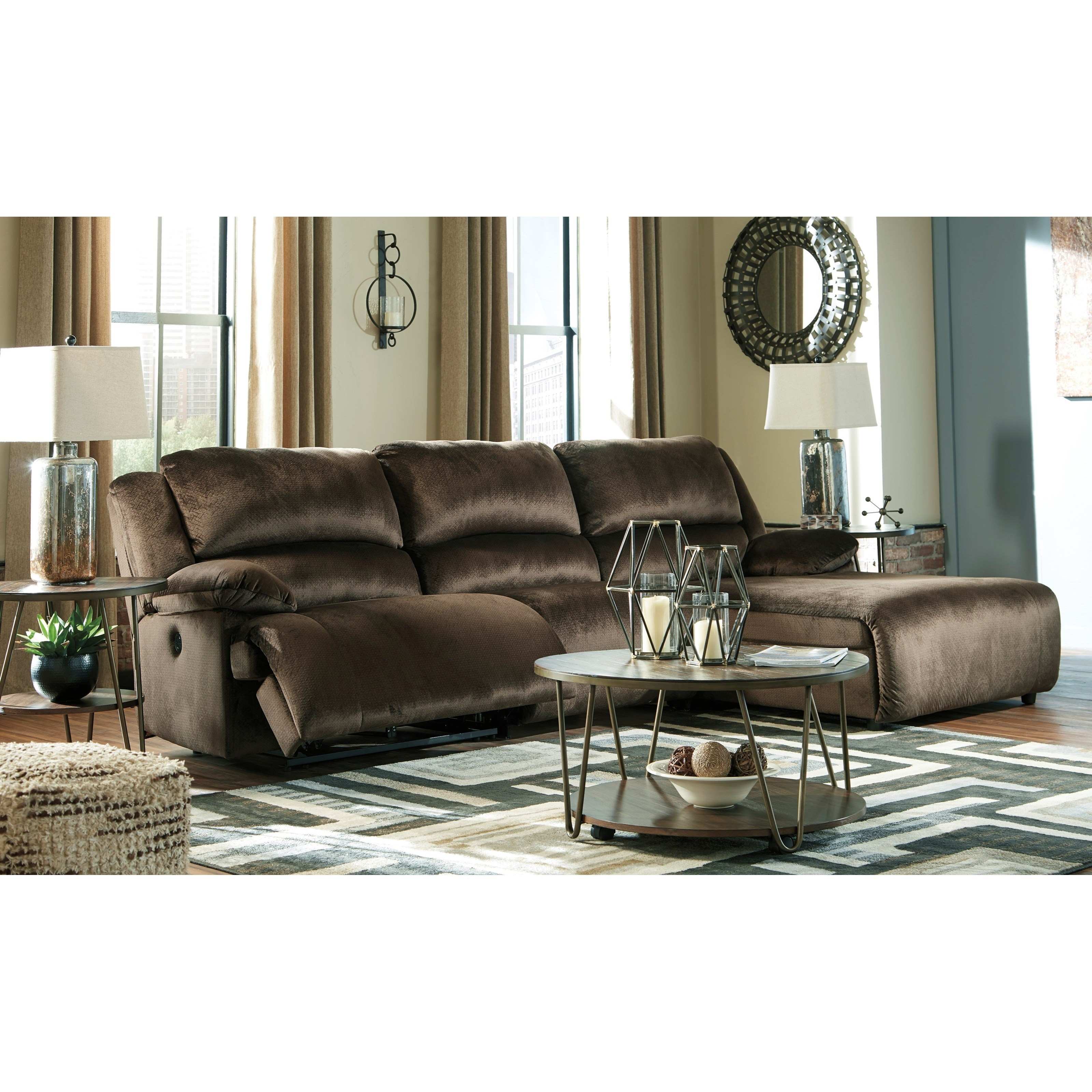 Picture of: Signature Design By Ashley Clonmel Reclining Sectional With Pressback Chaise Royal Furniture Reclining Sectional Sofas