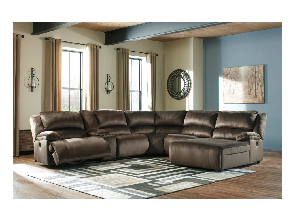 Ashley Signature Design ClonmelRecl. Sectional with Chaise & Console
