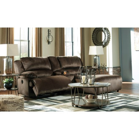Reclining Sectional w/ Chaise & Console